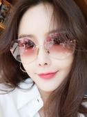 新款墨鏡女ins潮圓臉防紫外線無邊框太陽鏡大臉眼鏡 優尚良品