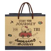 〔小禮堂〕Hello Kitty 方形手提紙袋《M.棕.開車》包裝袋.送禮紙袋.手提袋 4714581-55248