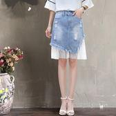 牛仔短女夏季2018春新款拼接網紗韓版學生半身超火的裙子 SG4871【潘小丫女鞋】