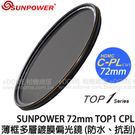 SUNPOWER 72mm TOP1 CPL HDMC 薄框多層膜 偏光鏡 (湧蓮國際公司貨) 抗刮 防潑水