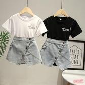 女童套裝 牛仔裙套裝夏季韓版洋氣長款T恤裙子個性牛仔短裙兩件套