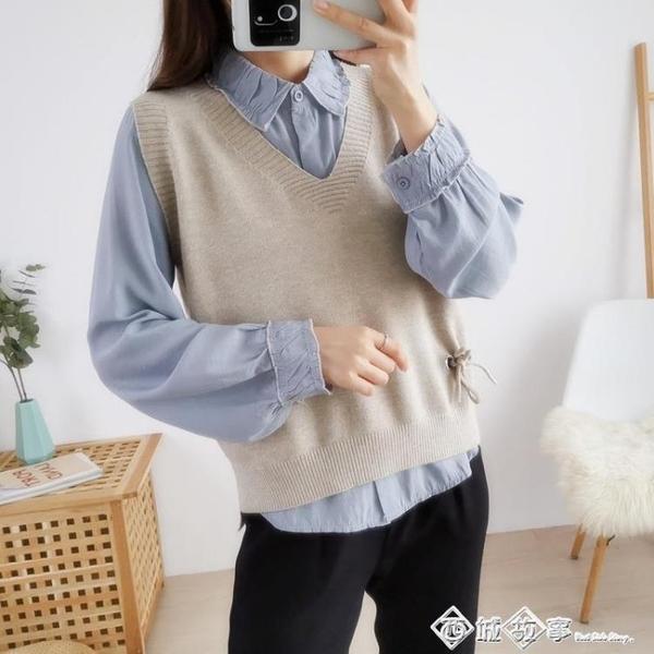 韓版寬鬆大V領針織馬甲外穿春秋季2020新款毛衣無袖背心外搭女裝 西城故事