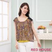 RED HOUSE-蕾赫斯-豹紋雪紡兩件式上衣(豹紋咖)