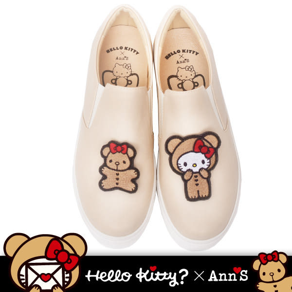 HELLO KITTY X Ann'S棕色熊熊可隨意交換刺繡厚底懶人鞋-奶茶杏