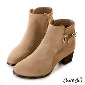amai微方頭皮帶釦飾拉鍊粗跟短靴 杏