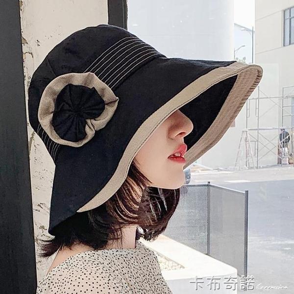 漁夫帽子女夏韓版出游遮陽帽防曬防紫外線遮臉大沿花朵日系太陽帽 卡布奇诺