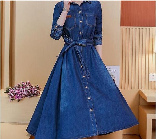 牛仔裙  修身長裙女韓版中長款長袖襯衫牛仔連身裙大擺裙潮  瑪麗蘇