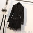 大碼女裝2020年新款秋裝減齡時髦西裝連衣裙胖妹妹洋氣顯瘦西服裙 蘿莉新品