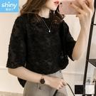 【V3322】shiny藍格子-甜美巧思.純色透視流蘇羽毛短袖上衣