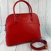 BRAND楓月 HERMES 愛馬仕 ○Y刻 橘紅色 鴕鳥皮 特殊皮 BOLIDE31 手提包 側背包