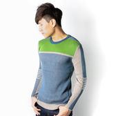 JUN 藍綠拼接線衫