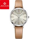 JULIUS 聚利時 迷戀的精彩圓珠刻度皮錶帶腕錶-沙漠棕/33mm 【JA-1034B】