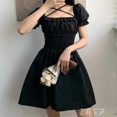 Amyway法式方領交叉綁帶褶皺泡泡袖洋裝高腰修身短款A字小黑裙