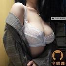 性感內衣內褲套裝大碼蕾絲文胸超薄透明大胸顯小側收胸罩【宅貓醬】