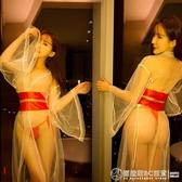 情趣性感睡衣長裙透明薄紗新娘復古長裙飄紗和服浴袍誘惑長袖V領人氣套裝  圖拉斯3C百貨