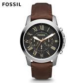 FOSSIL Grant 深褐色黑色錶面皮革手錶 男 FS4813IE