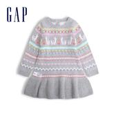 Gap嬰兒 圓領長袖洋裝 517301-石楠灰
