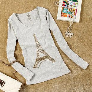 秋裝最新款 鐵塔女裝長袖T恤