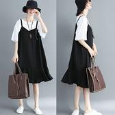 胖妹妹大碼洋裝連身裙~大碼女裝200斤假兩件胖mm韓版雪紡連身裙,N709莎菲娜