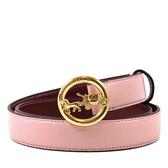 美國正品 COACH 女款 金色馬車縷空LOGO窄版穿釦式皮帶-粉色【現貨】