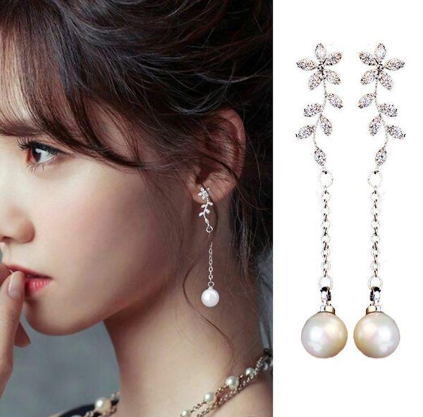 耳環 璀璨花朵貝殼珍珠奢華鋯石 925銀針 抗過敏 耳環