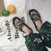 度假風綠葉子沙灘鞋女時尚休閑布面熱帶雨林季原宿BF風涼拖鞋潮【韓衣舍】