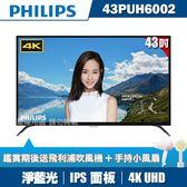 ★送小風扇+吹風機★PHILIPS飛利浦 43吋4K UHD連網液晶顯示器+視訊盒43PUH6002
