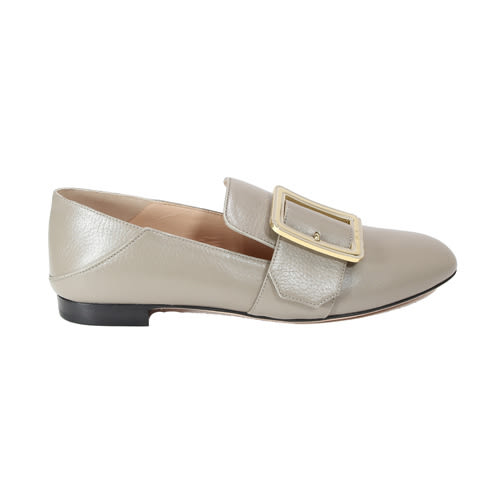 BALLY Janelle 方框牛皮福樂鞋平底鞋(36.5 小麥色)