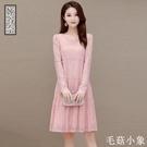 長袖蕾絲連身裙秋裝2020年新款女大碼寬鬆遮肚減齡顯瘦中長款裙子CL416【毛菇小象】