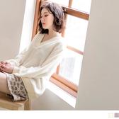 《AB9056-》羊羔毛微性感羅紋V領上衣 OB嚴選