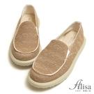 訂製鞋 MIT超輕混織鬆緊懶人休閒鞋-棕