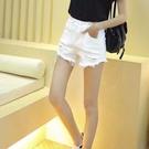 短褲 白色牛仔短褲女夏高腰寬松顯瘦2021新款韓版學生百搭破洞闊腿熱褲 全館免運