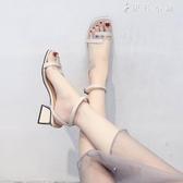 涼鞋女簡約一字帶韓版羅馬鞋外穿中跟粗跟復古晚晚鞋仙女 伊鞋本鋪