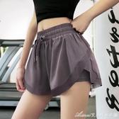 速幹褲運動短褲女寬鬆薄款透氣跑步健身褲防走光高腰舞蹈瑜伽褲 快速出貨