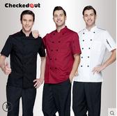 廚師服短袖夏裝黑色西餐廳廚房春夏廚師長飯店男女廚師工作服