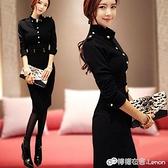 秋冬新款韓版職業包臀裙修身黑色長袖氣質打底中長款洋裝女