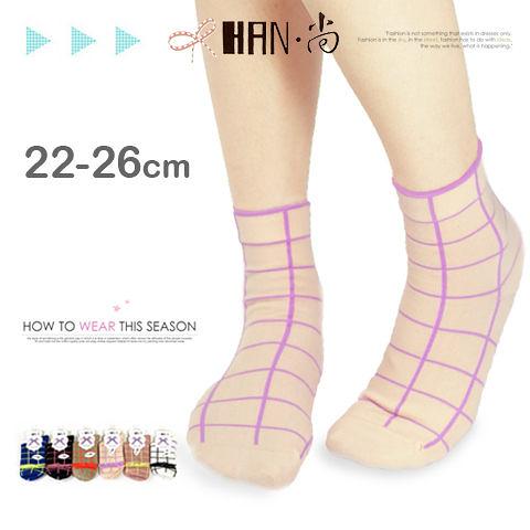 【esoxshop】HAN‧尚 線條格紋精梳棉少女襪│日韓系《棉襪/綿襪/造形短襪/造型短襪》