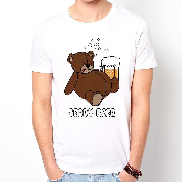 Dirty Sweet】Teddy Beer還是啤酒熊麻吉短袖T恤-白色 趣味幽默設計筒T 現貨 390