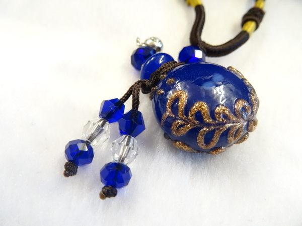 【Ruby工作坊】NO.20B藍精油雕花瓶中國結項鍊