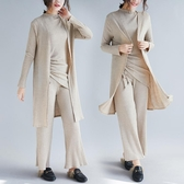 螺紋針織時尚套裝秋冬 文藝大尺碼氣質開衫抽繩休閒闊腿褲三件套‧復古‧衣閣