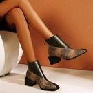 大尺碼女鞋34~48 2020新款潮流時尚拼色中跟短靴~3色
