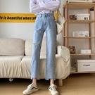 2021新品促銷 秋季新款韓版破洞高腰牛仔褲女寬松學生直筒顯瘦百搭九分褲
