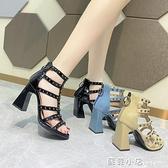 羅馬涼鞋女夏外穿時尚2021年新款夏季仙女風百搭粗跟氣質高跟涼鞋 蘇菲小店