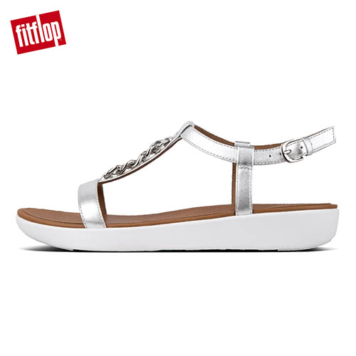 【FitFlop】LANA CHAIN LEATHER BACK-STRAP SANDALS率性金屬鍊條後帶涼鞋(銀色)