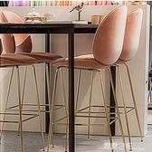 吧台椅現代簡約金色吧凳酒吧椅高腳椅高腳凳絨布家用吧椅休閒吧椅 露露日記