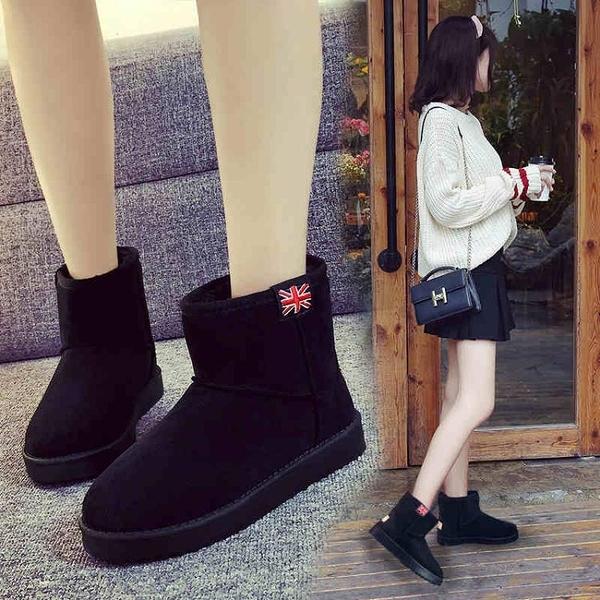 雪靴 冬季新款雪地靴女加絨加厚韓版保暖短筒短靴學生棉鞋百搭靴子