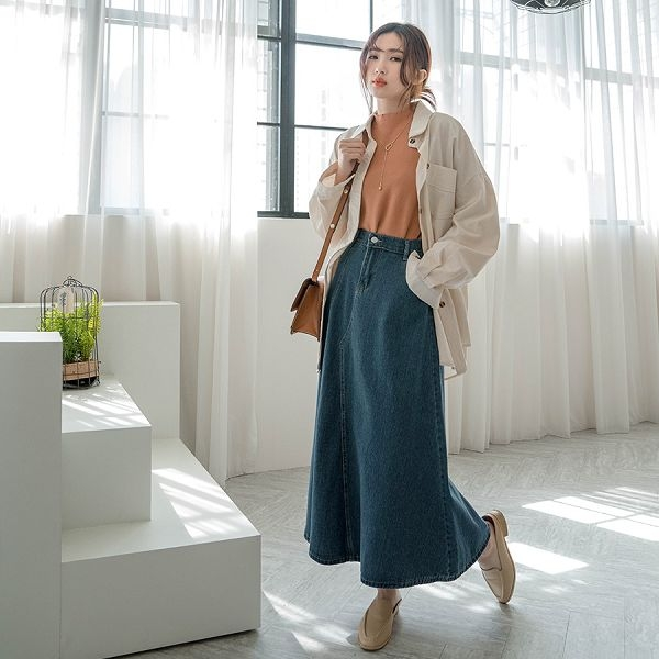 MIUSTAR 單邊開衩鬆緊腰牛仔魚尾裙(共2色)【NJ0208】預購