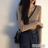秋裝女V領套頭針織打底小衫學生顯瘦長袖T恤chic緊身上衣內搭毛衣 快速出貨
