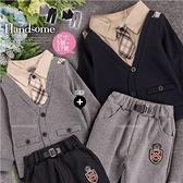 【封館5折】小男孩紳士套裝~翻領假兩件長袖上衣 棉質長褲-2色(領帶可拆)(300421)