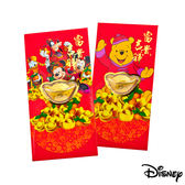 Disney迪士尼系列金飾-黃金元寶紅包袋-迪士尼家族+平安維尼款